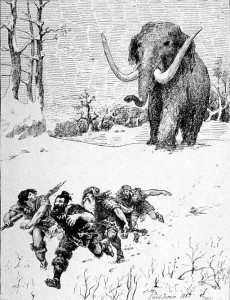 Ob heutige Paleo-Köche so viel Bewegung bekommen wie der durchschnittliche Steinzeitjäger ist fraglich. Bild: Le Mammouth, Paul Jamin (1853-1903).