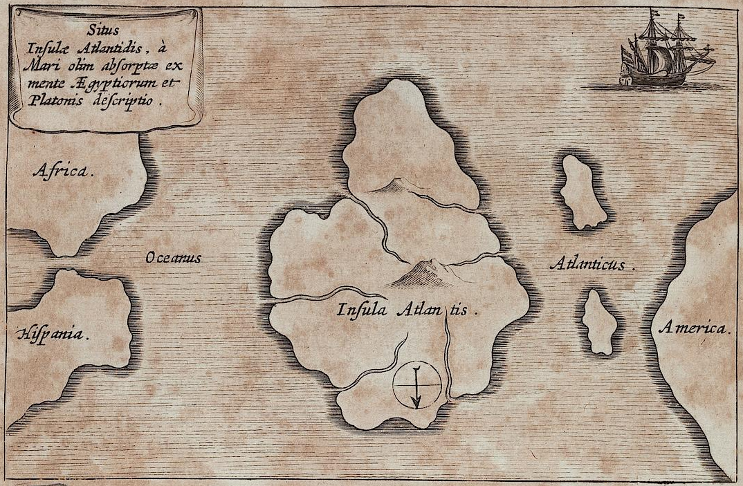 Athanasius Kirchers KArte von Atlantis. Mundus subterraneus, vol. 1. Amsterdam 1678 – UB Heidelberg. Public Domain.